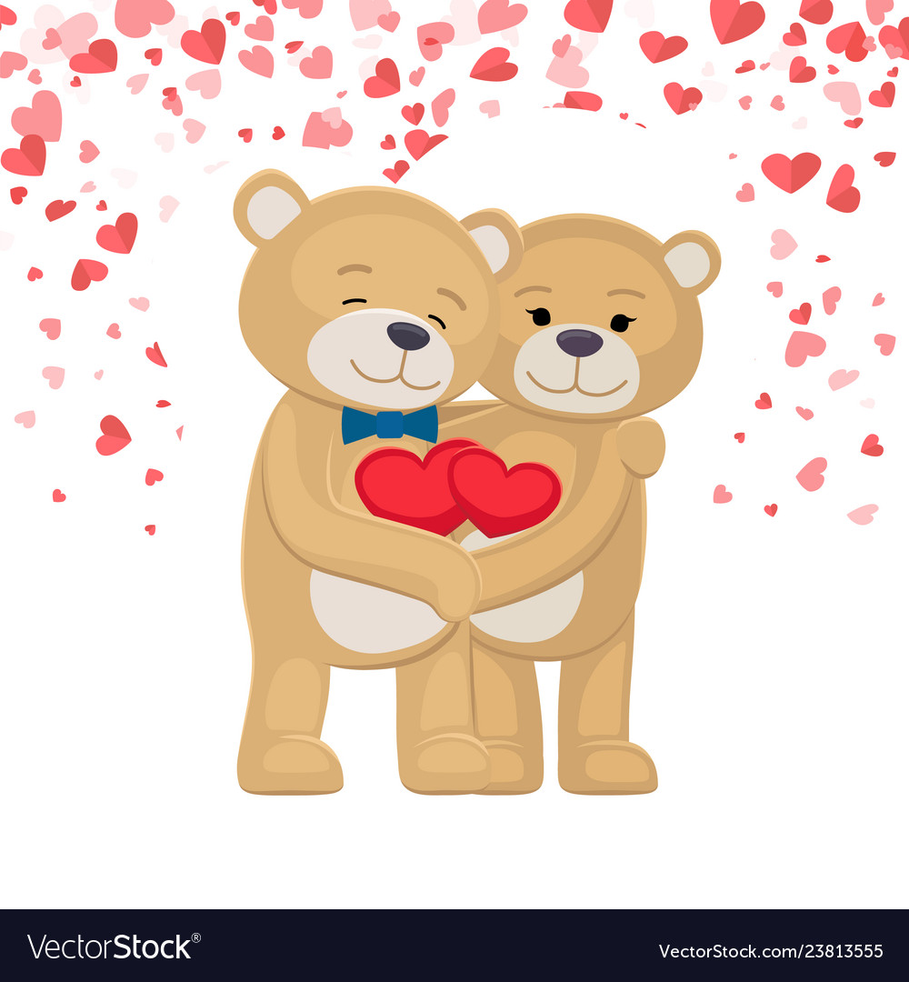 Happy teddy bears family holding red heart in paws