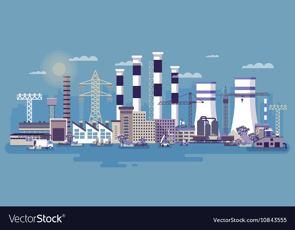 Industrial zone with factories