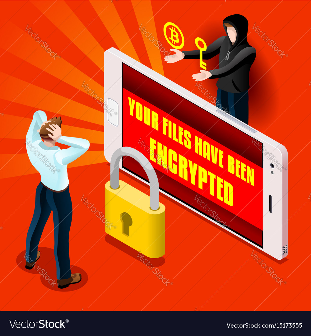 Ransomware malware hacker attack infographic