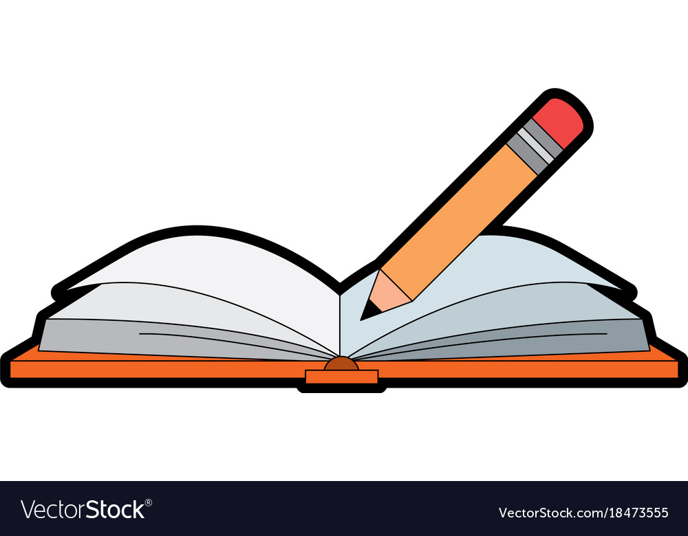 text book with pencil royalty free vector image