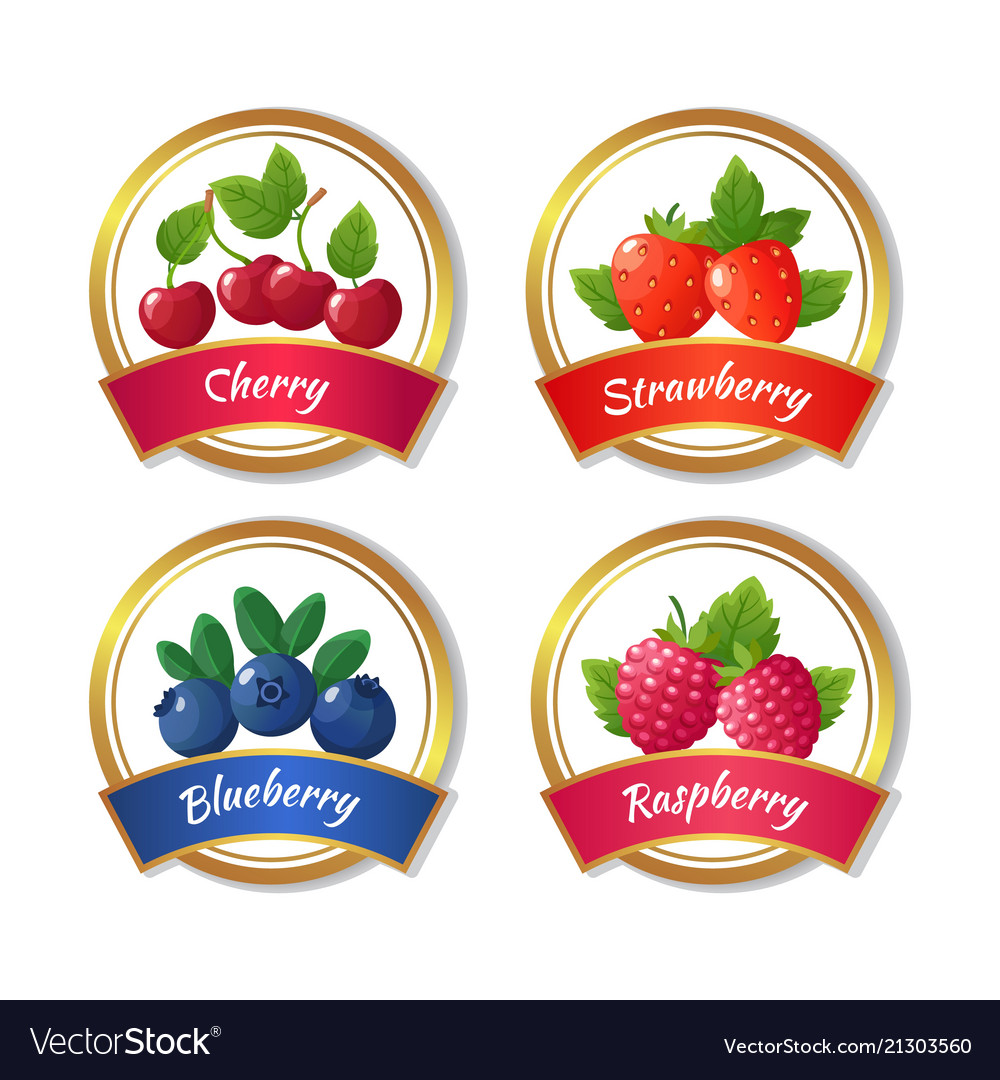 Berry jam and marmalade labels fresh summer