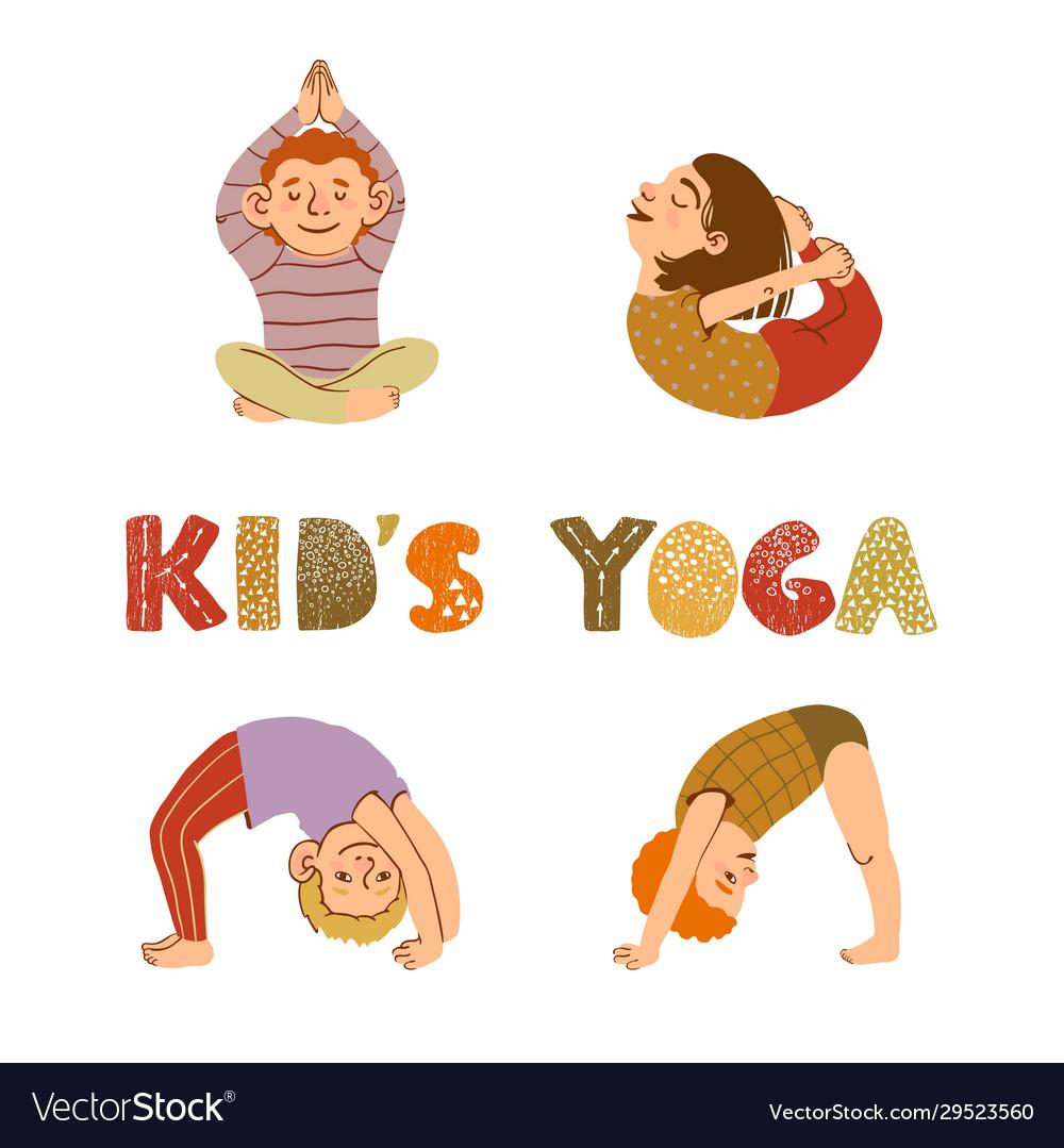Children doing yoga different