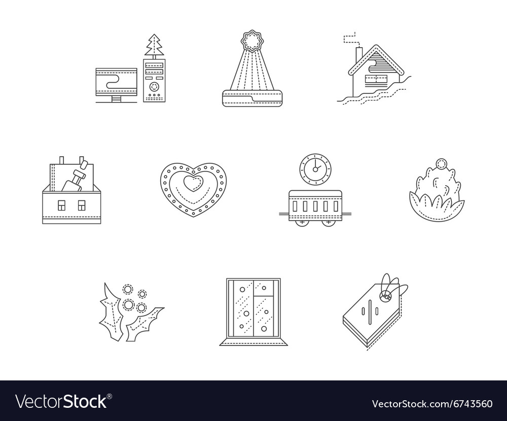 Christmas corporate event line icons set vector image