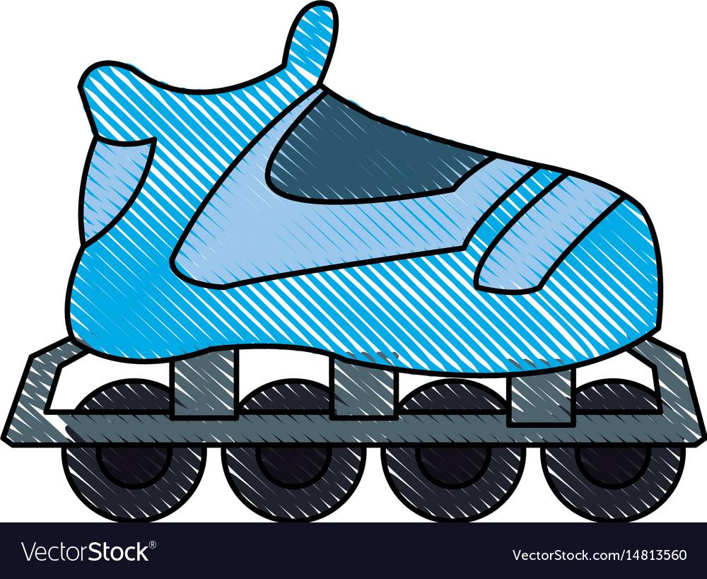 Drawing blue skate sport wheels