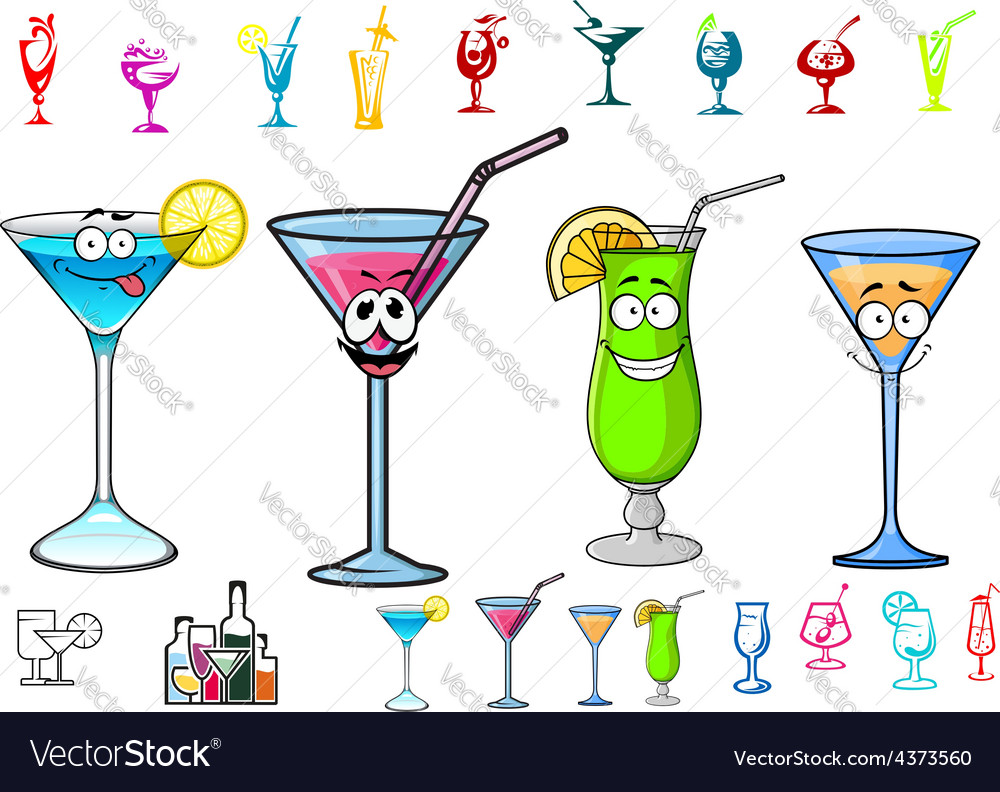 Happy cartoon cocktails with straws characters