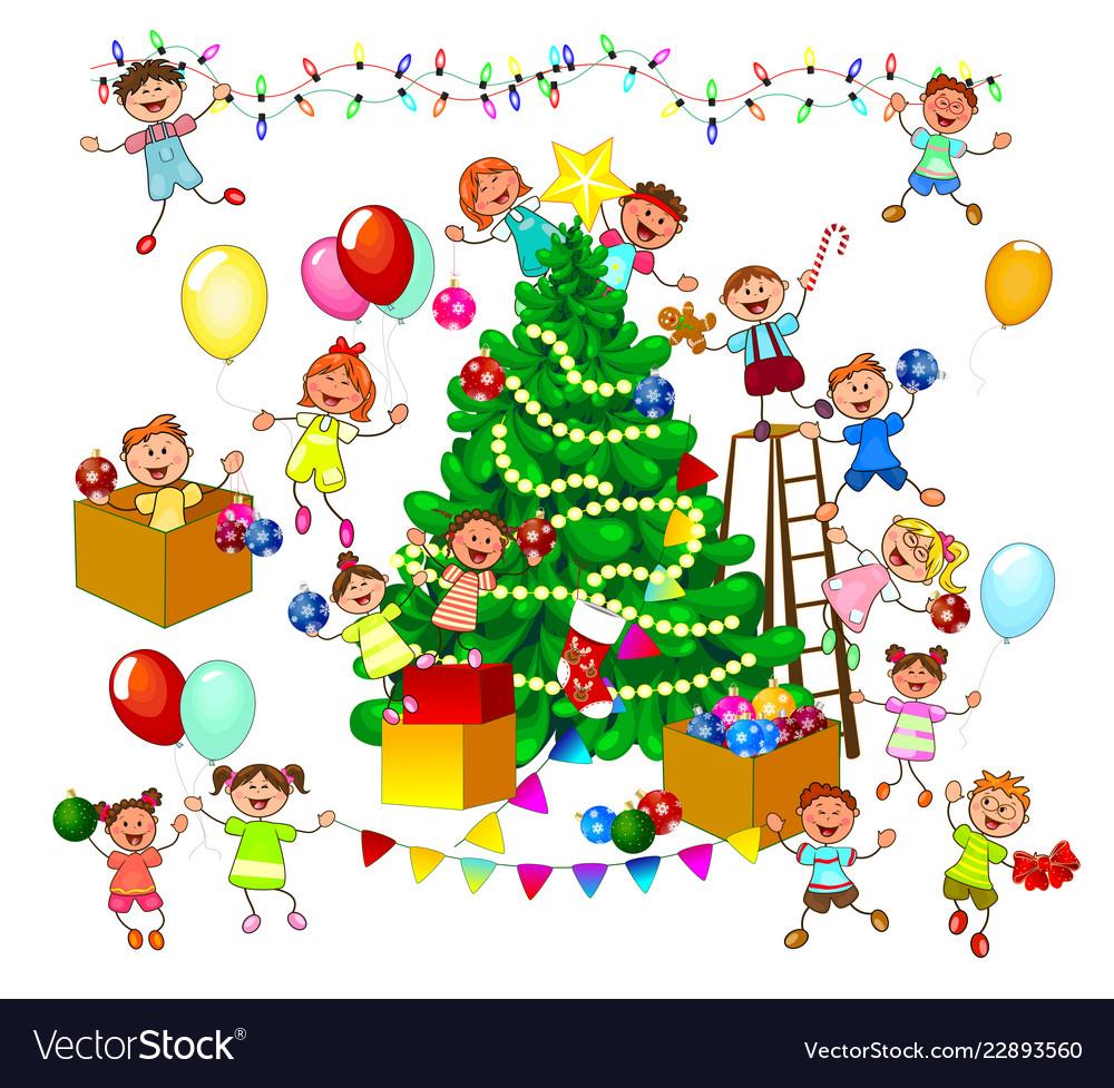 Happy Kids Decorate Christmas Tree