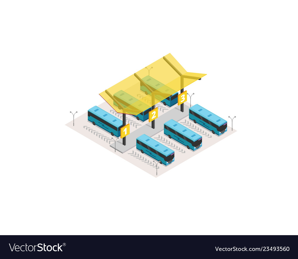 Isometric bus station terminal