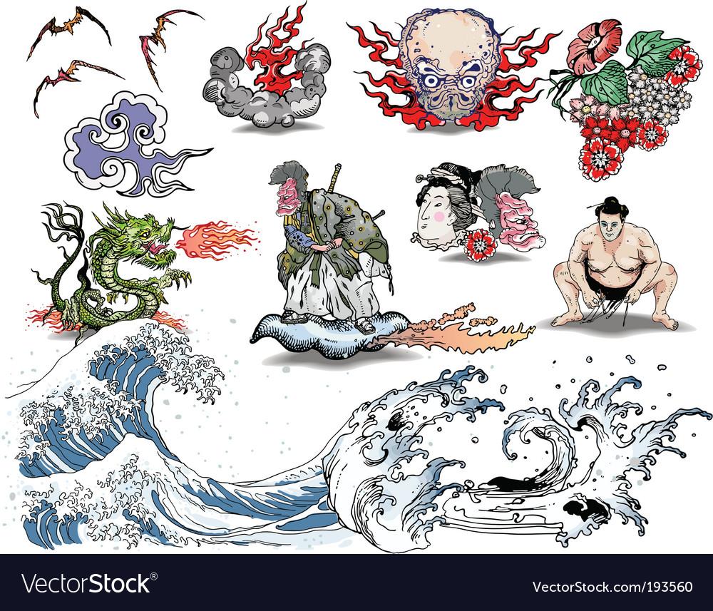 Japanese tattoo elements