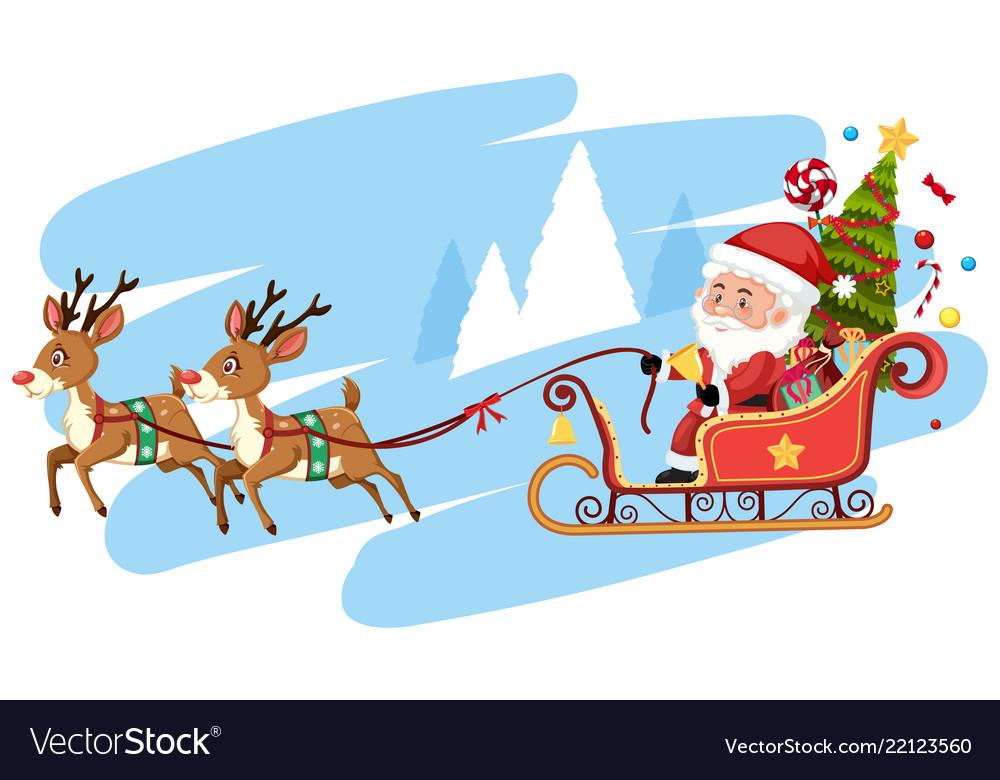 Santa Claus Riding Sleigh Template Royalty Free Vector Image