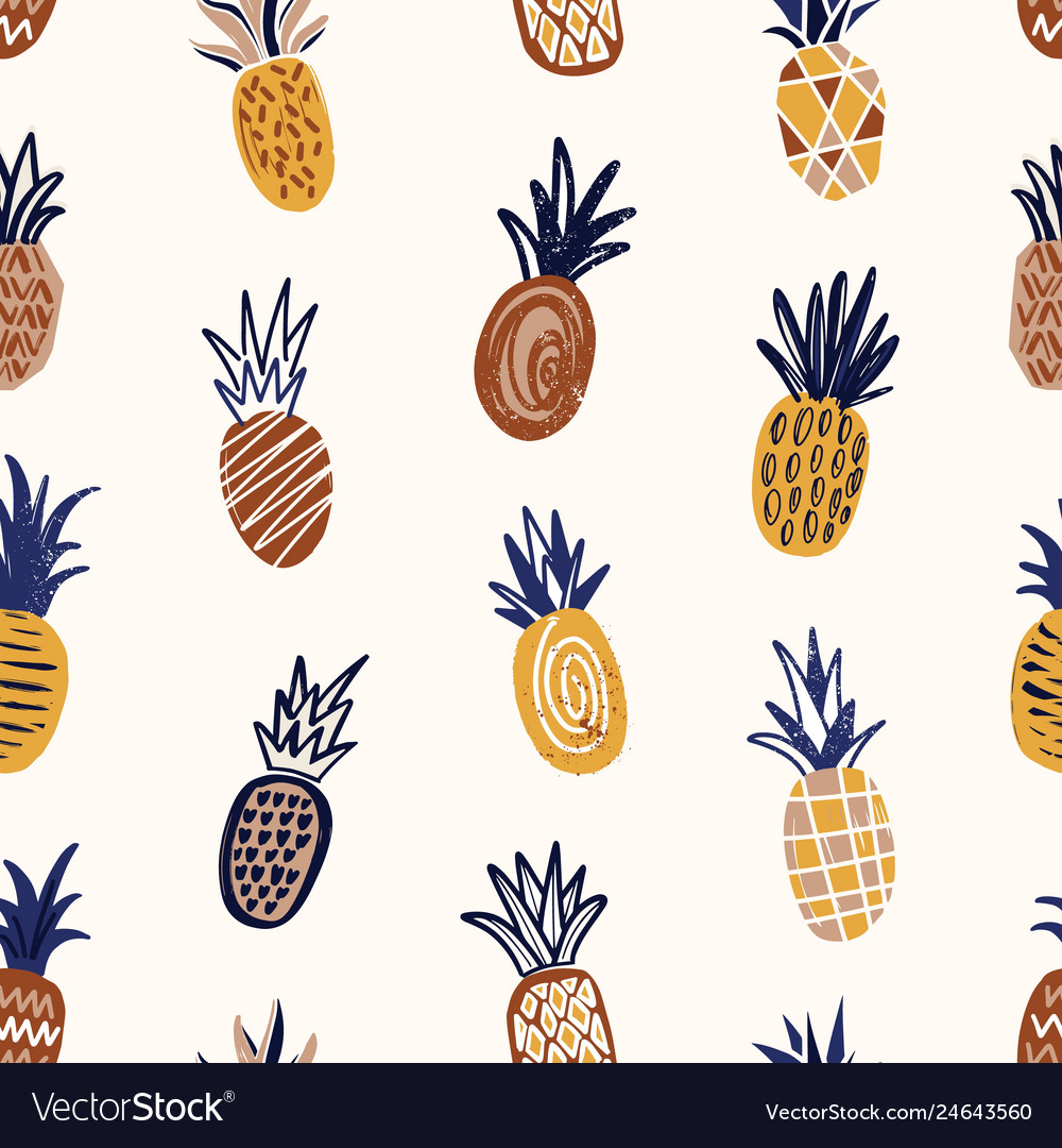 Trendy seamless pattern with textured pineapples