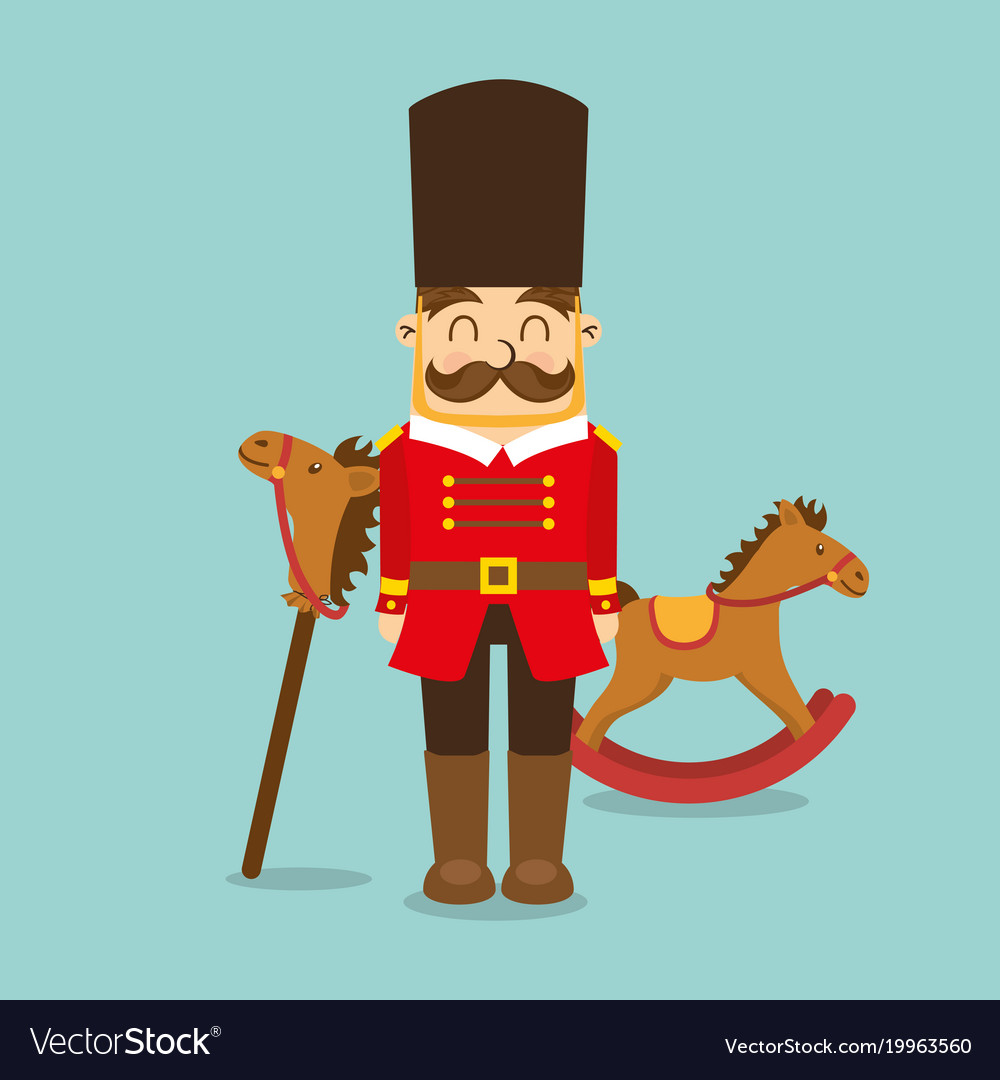 Vintage toys for kids soldier horse wooden icons vector image