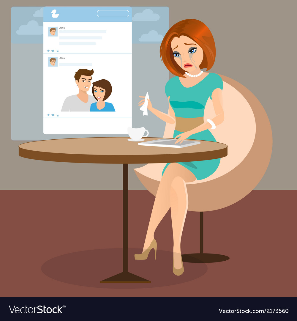 Young elegant woman is crying in the cafe vector image