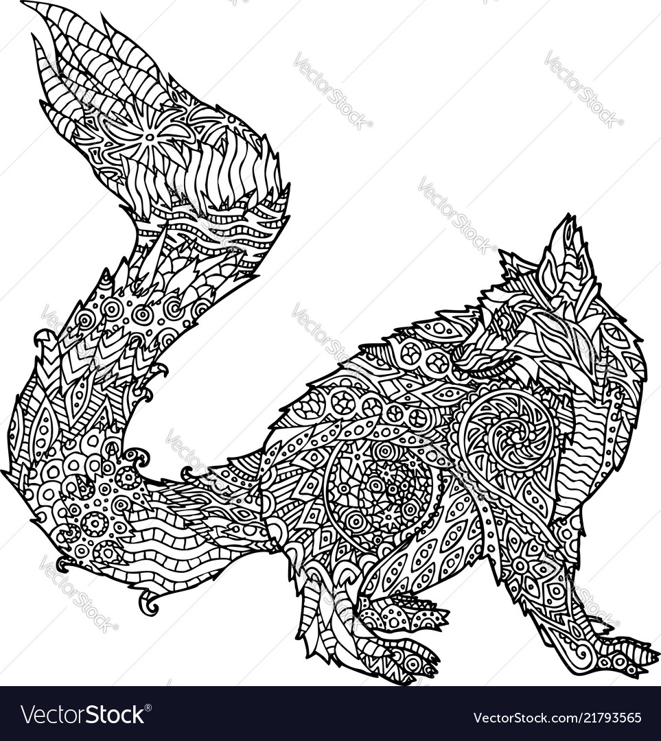 Adult Coloring Book Page With Cartoon Lemur Vector Image