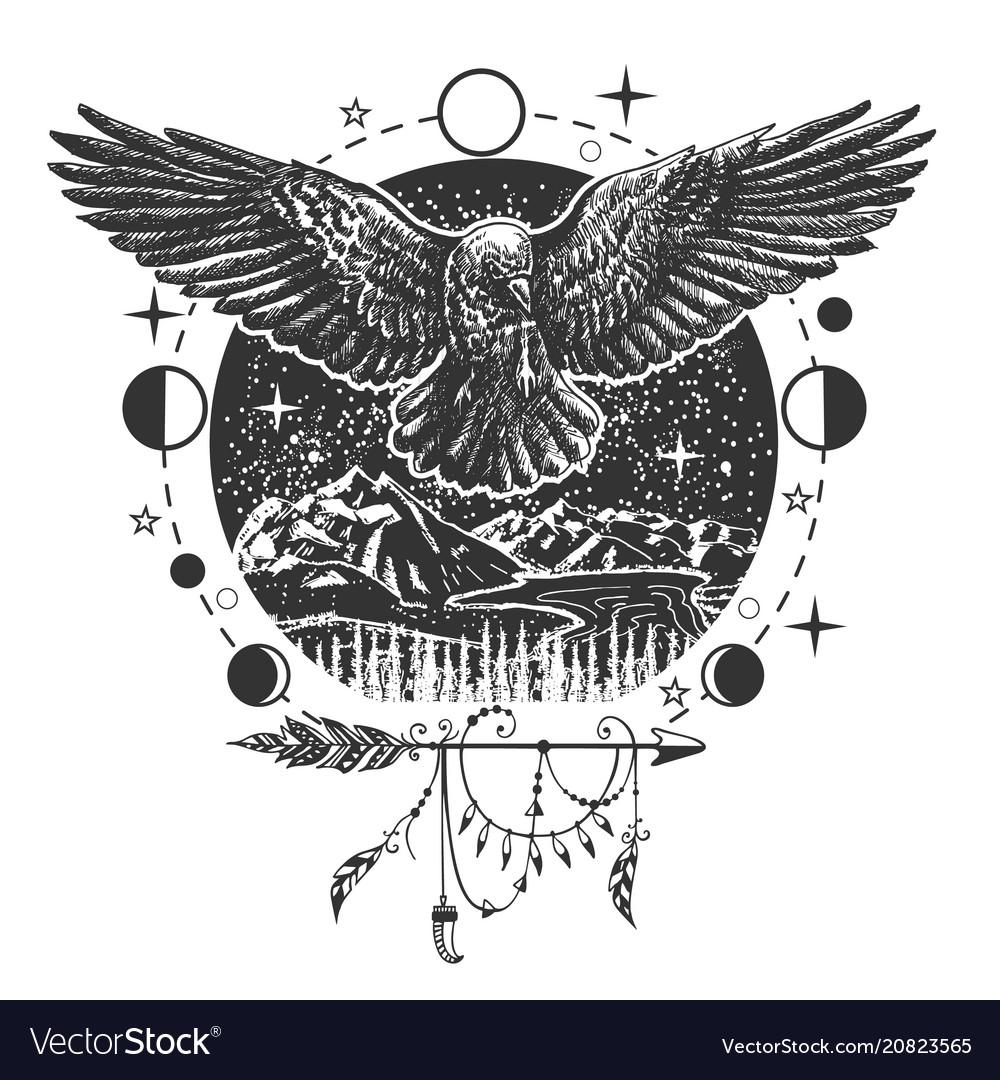 Black raven tattoo or t-shirt print design