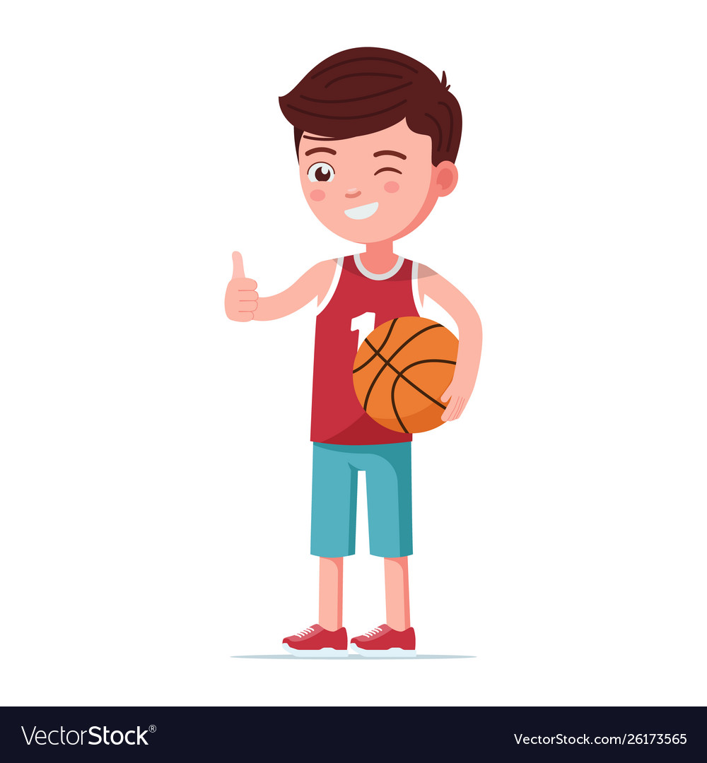 Boy basketball player stands with ball
