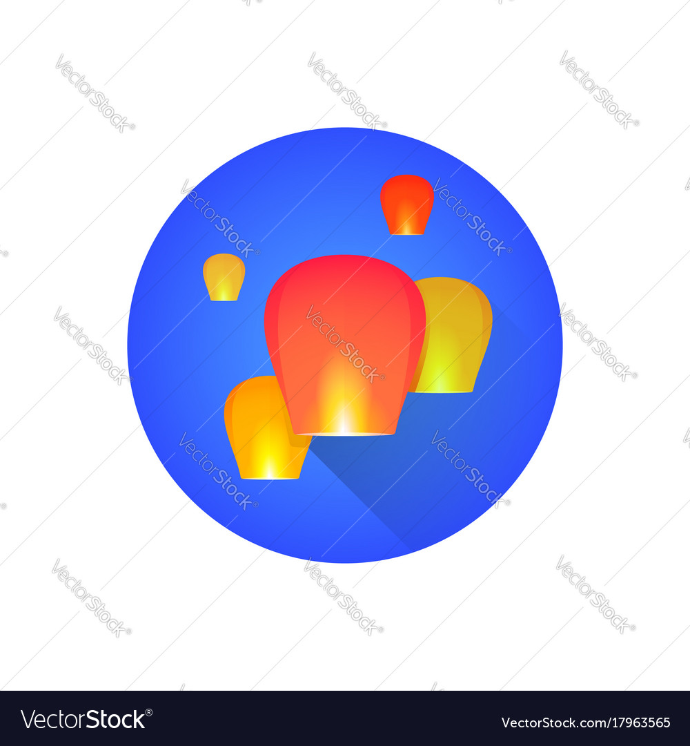 Chinese sky flying floating lanterns vector image