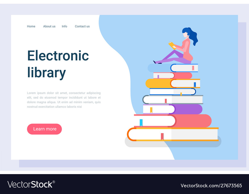 Electronic library student reading books website