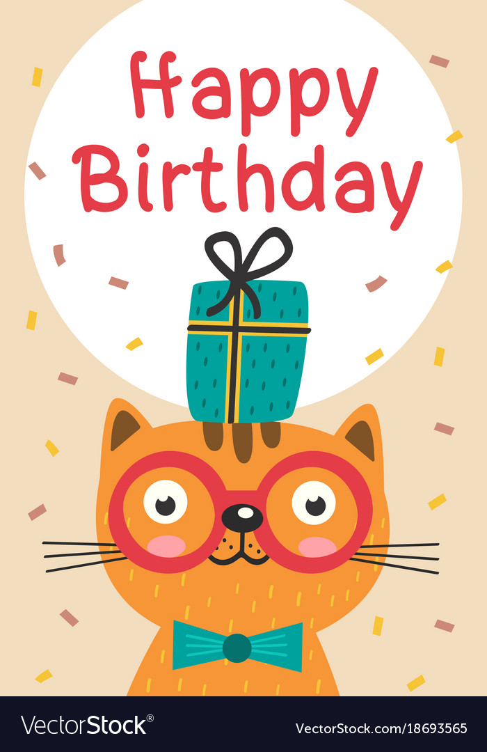 Happy Birthday Card With Cat In Glasses And Gift Vector Image