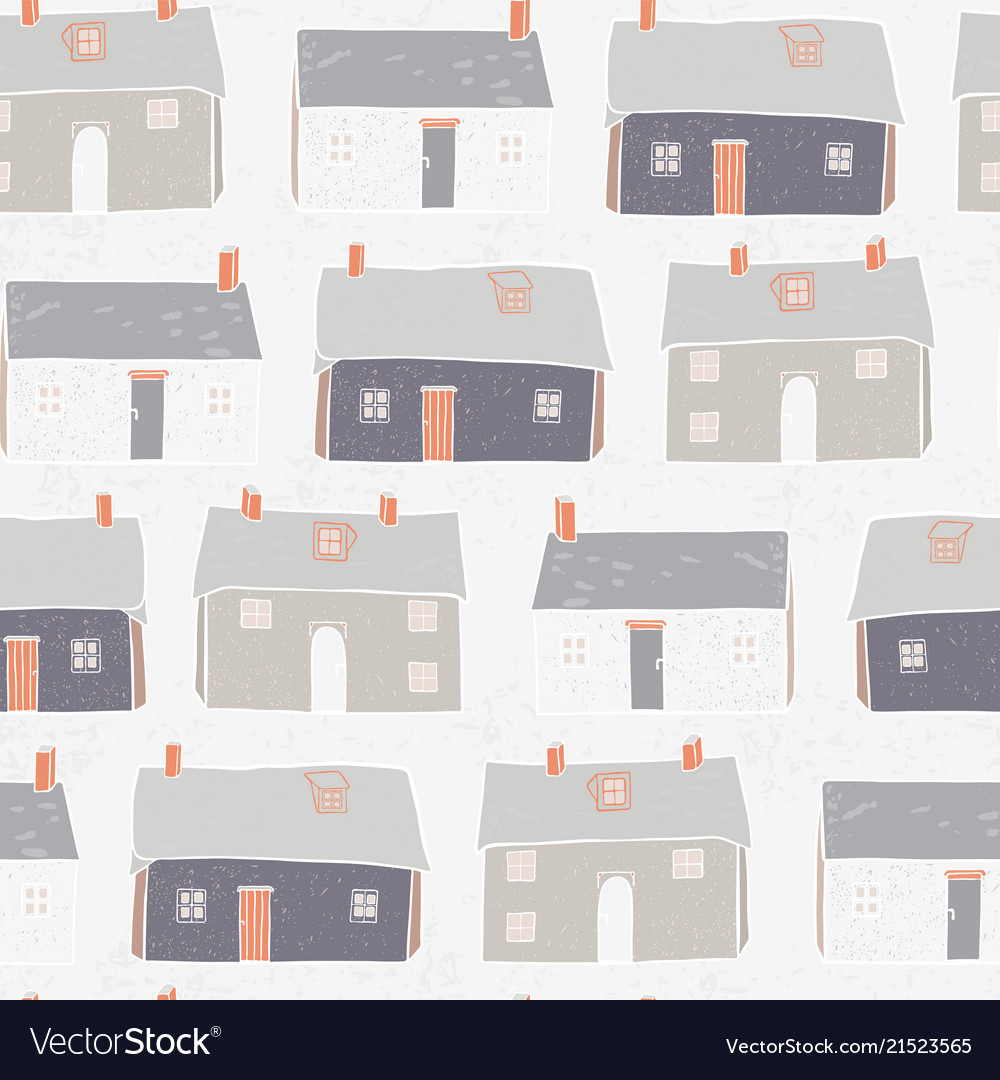 Houses village xmas repeat grey background