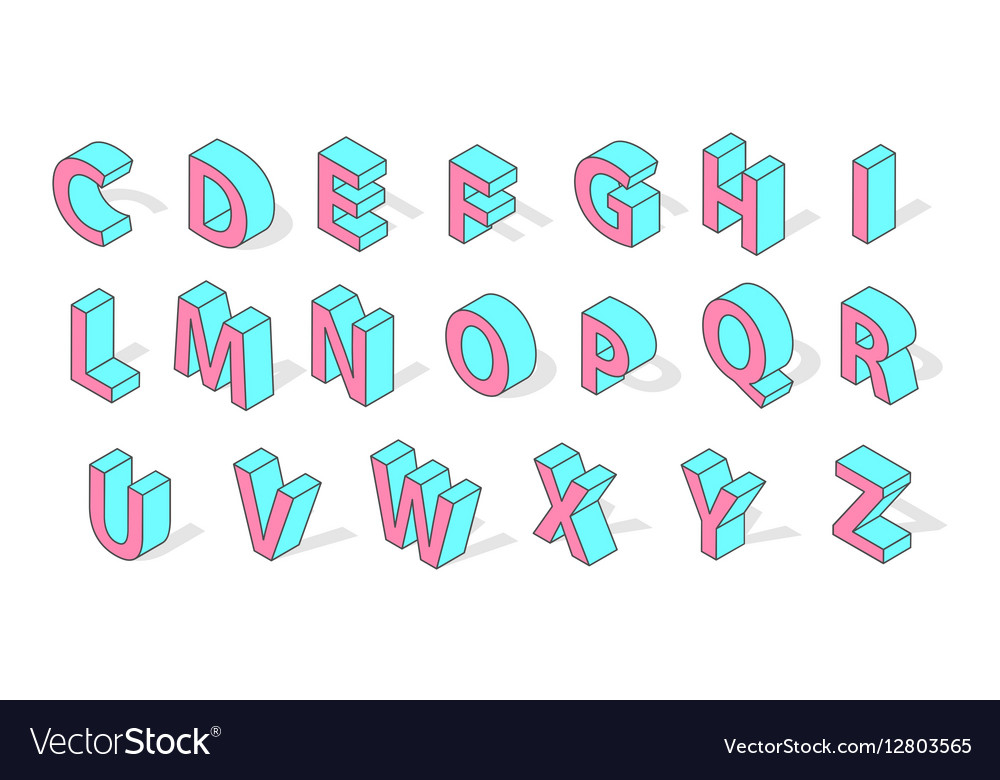 Isometric alphabet font isolated