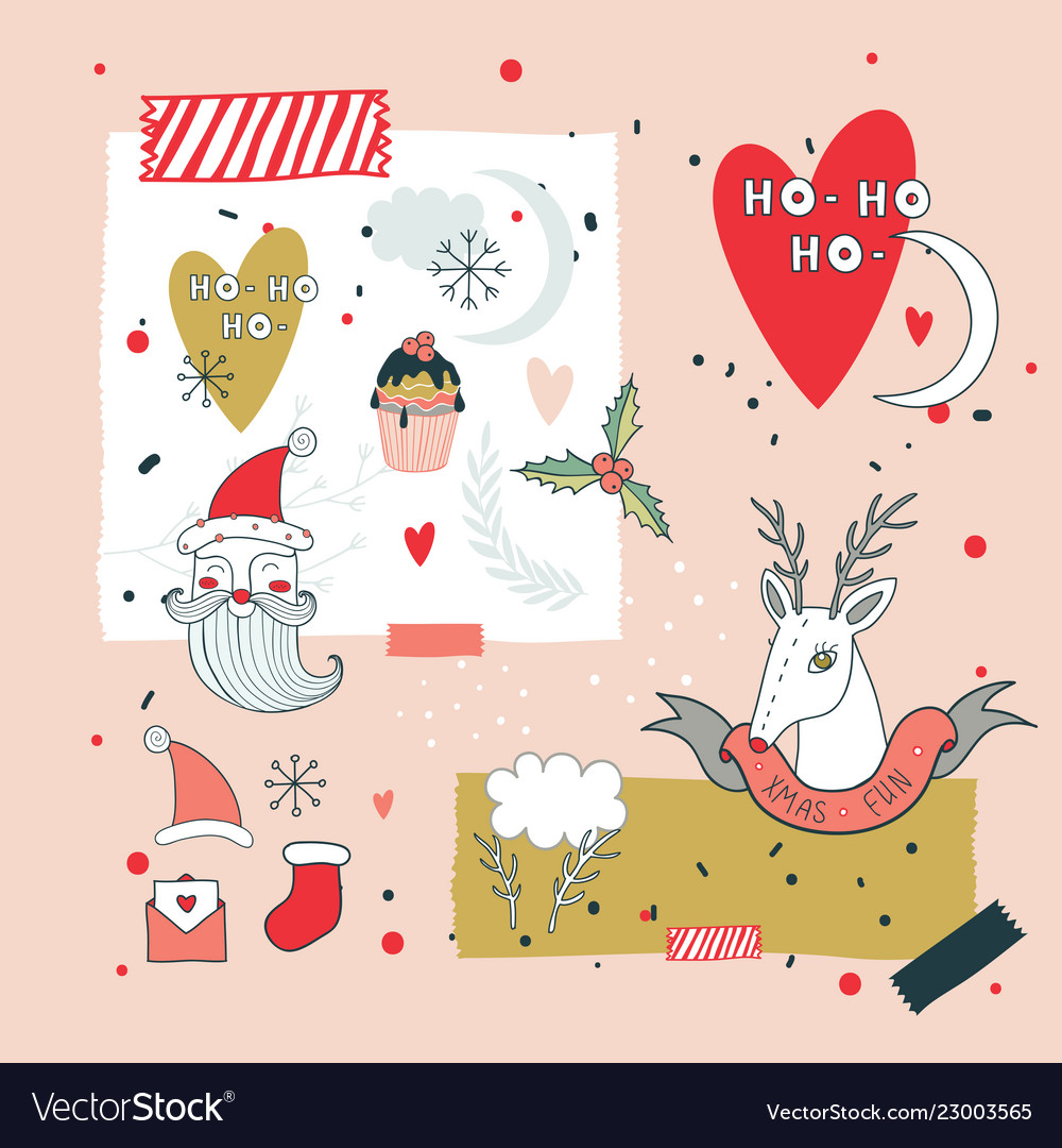 New year design elements set santa claus and