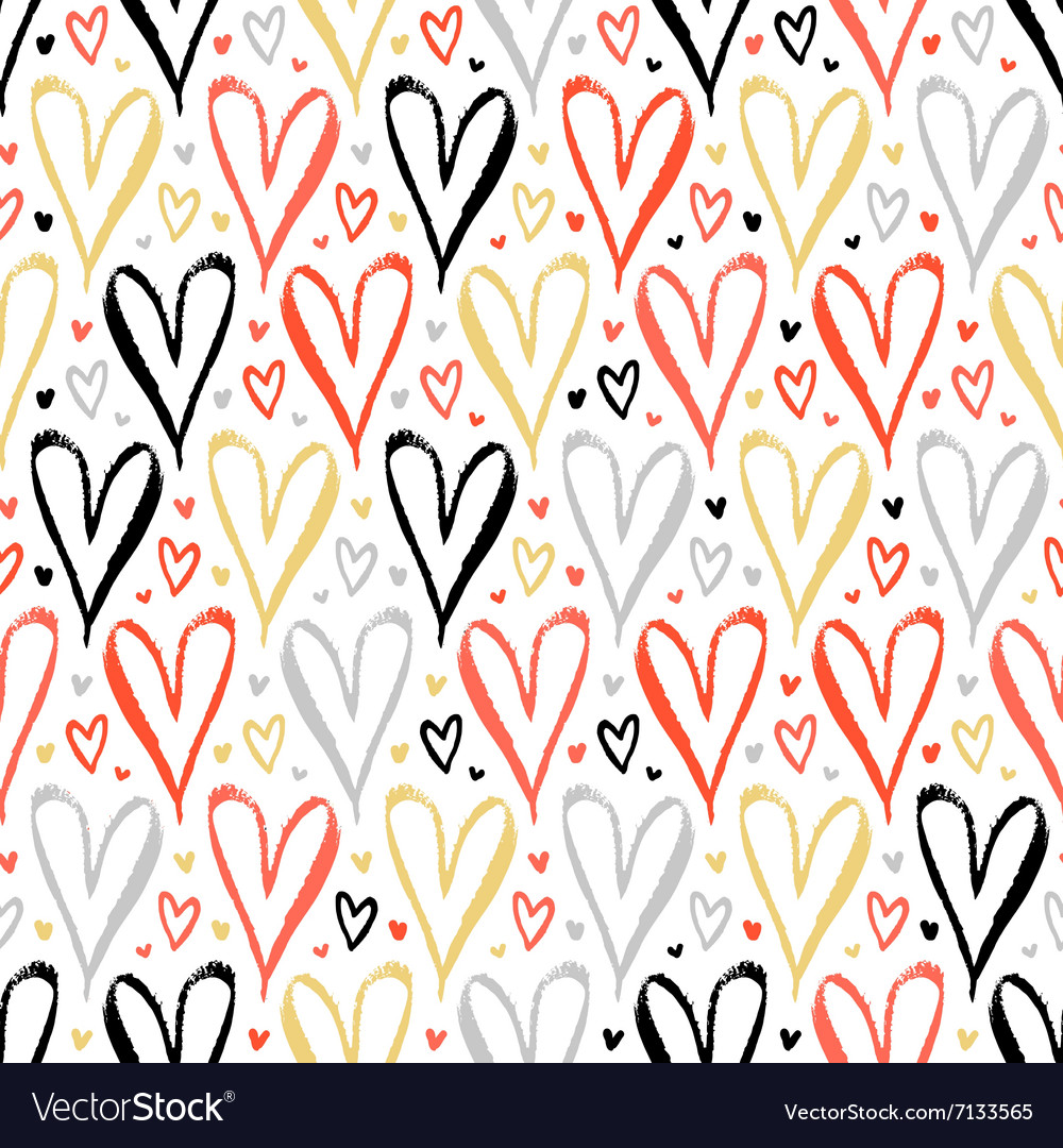 Pattern with hand drawn hearts