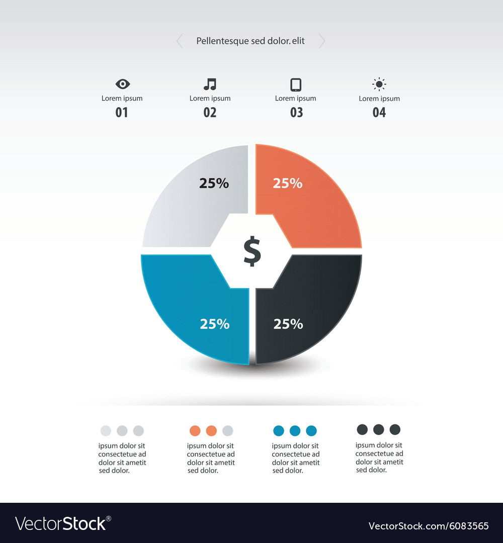 pie chart infographics template design royalty free vector