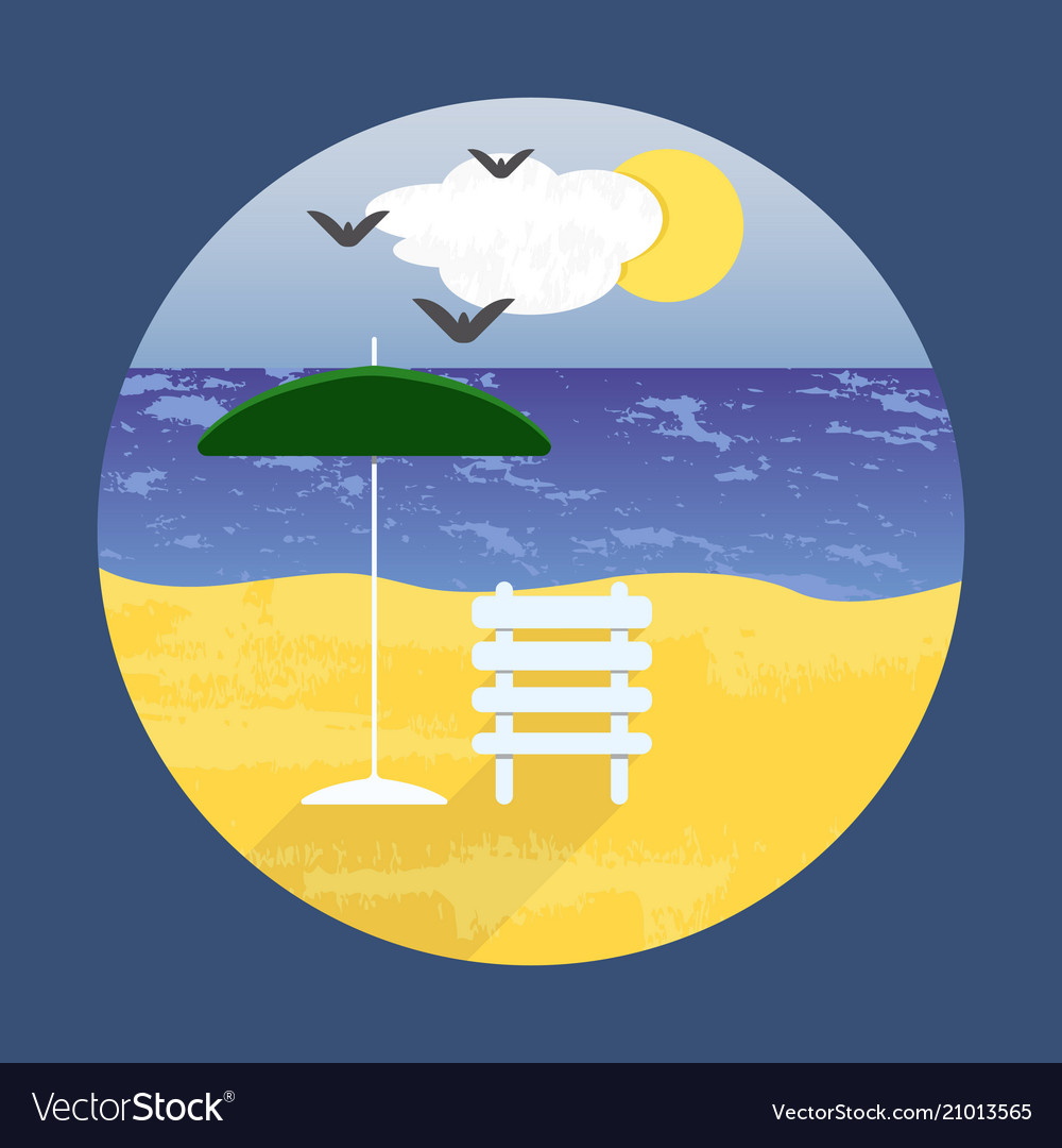 Poster with a beach landscape for design