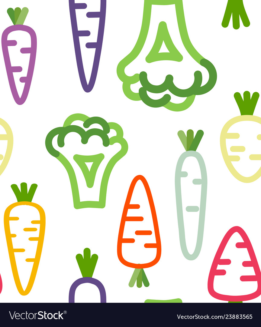 Seamless pattern with funny vegetables