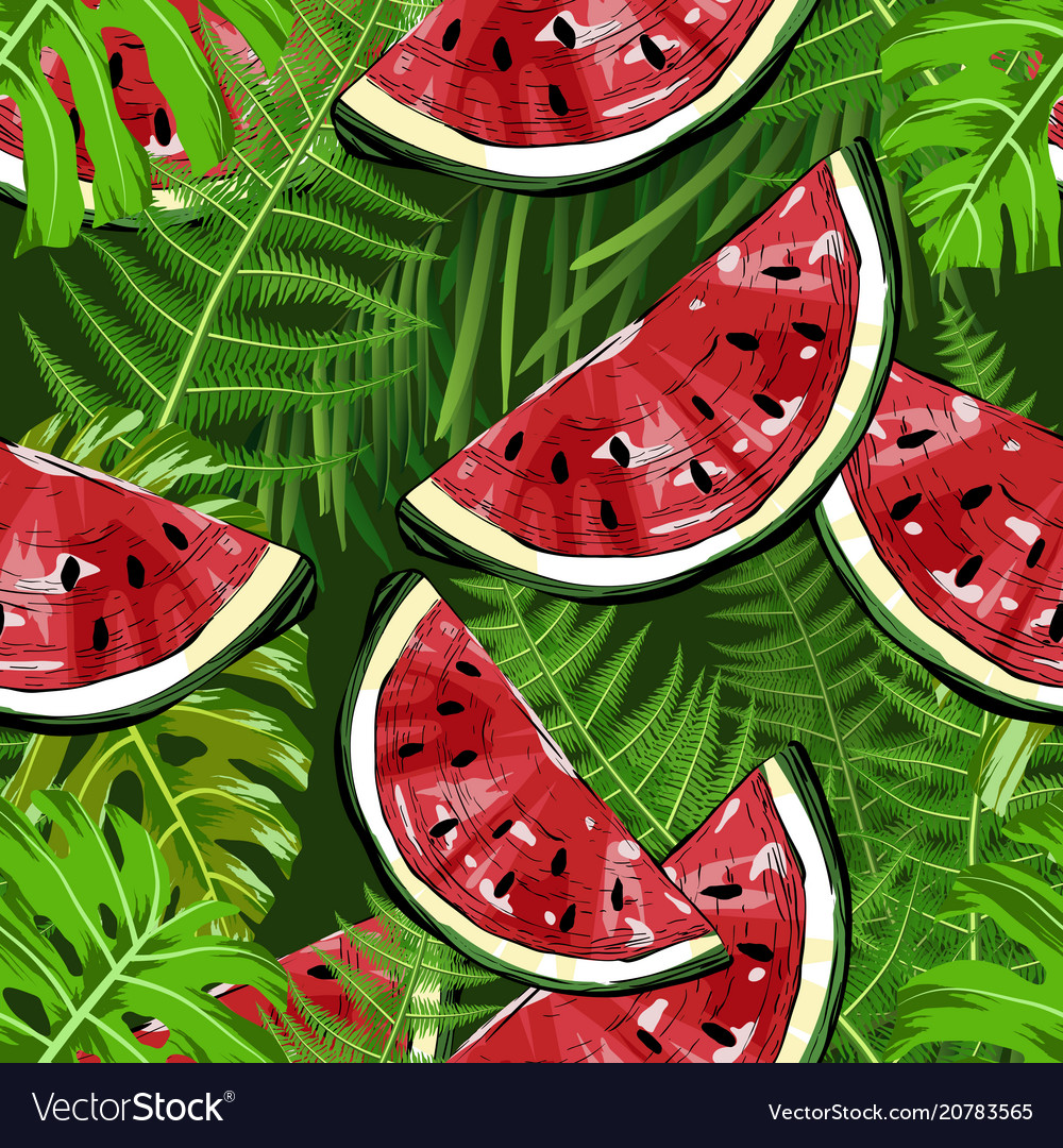 Seamless pattern with watermelons and plants