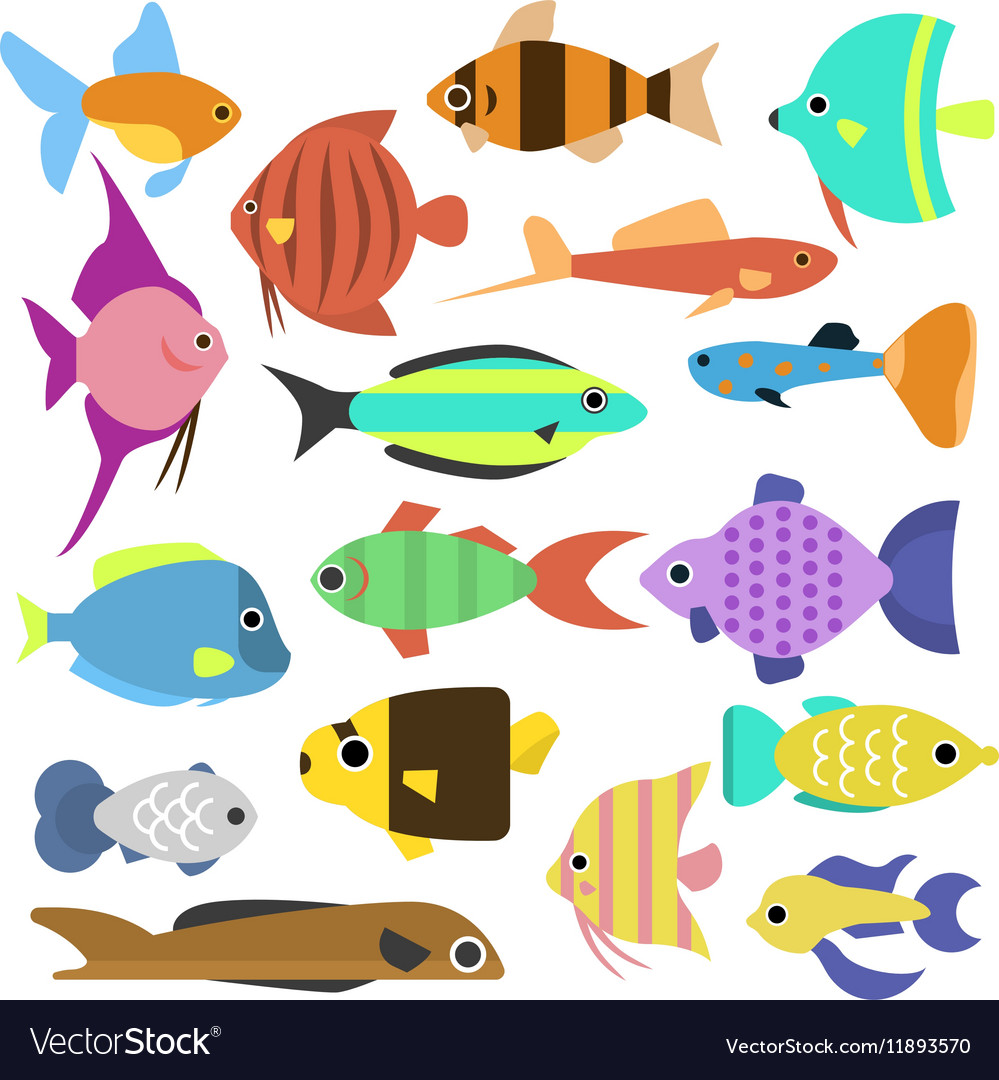 Aquarium flat style fishes icons
