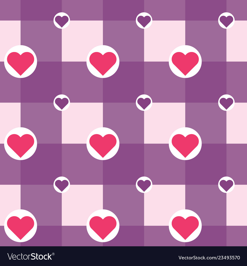 Checkered with hearts in circles pattern