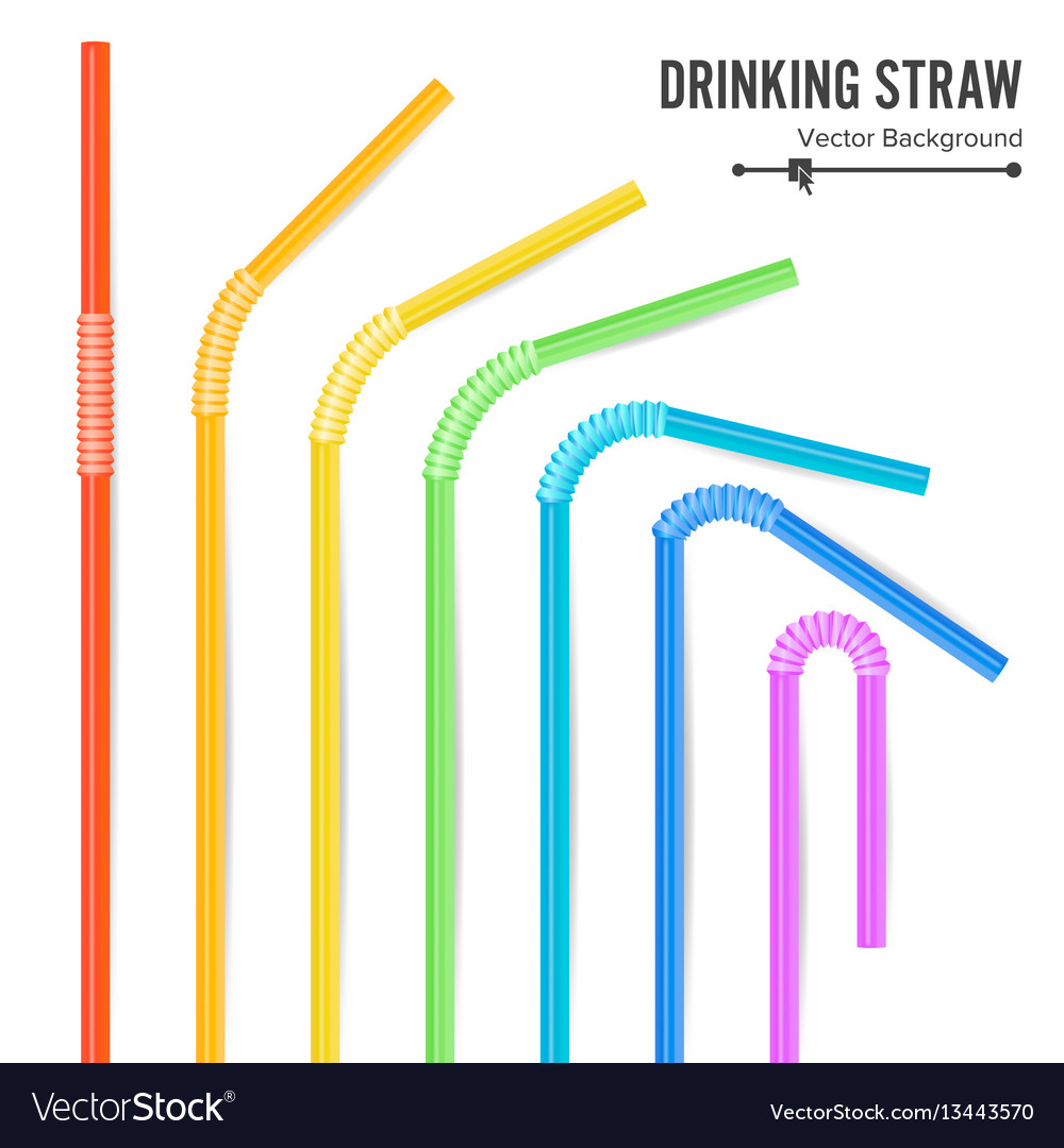 Colorful drinking straws different types