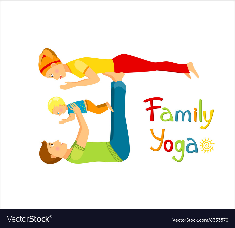 Family Practicing Yoga Royalty Free Vector Image