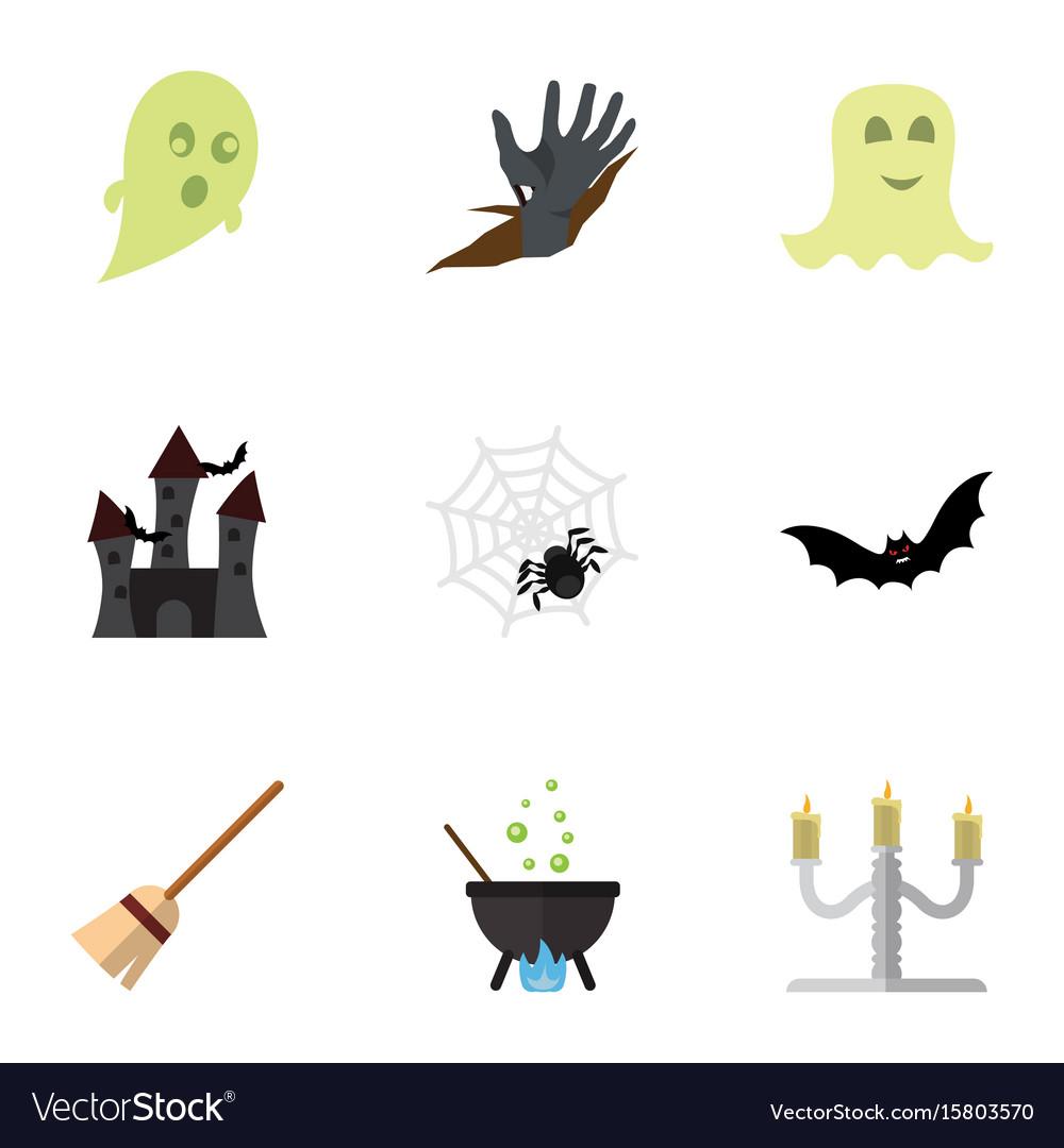 Flat icon festival set of zombie phantom magic vector image