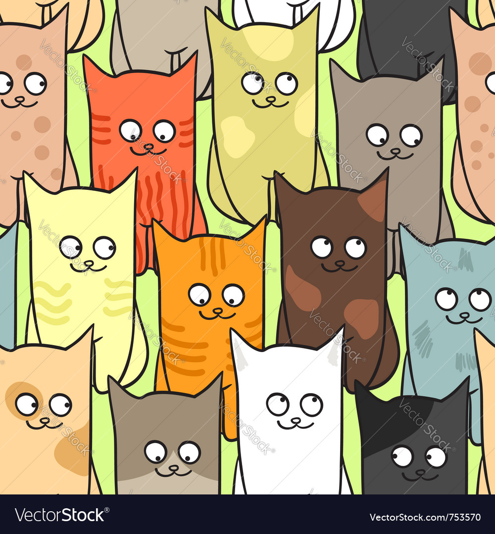 Funny Cats Pattern Royalty Free Vector Image Vectorstock