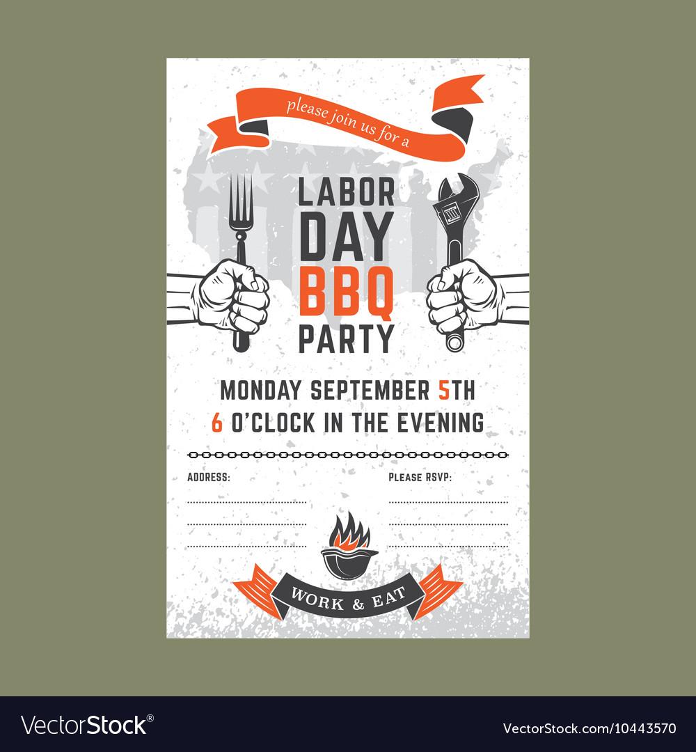 Labor day BBQ invitation card