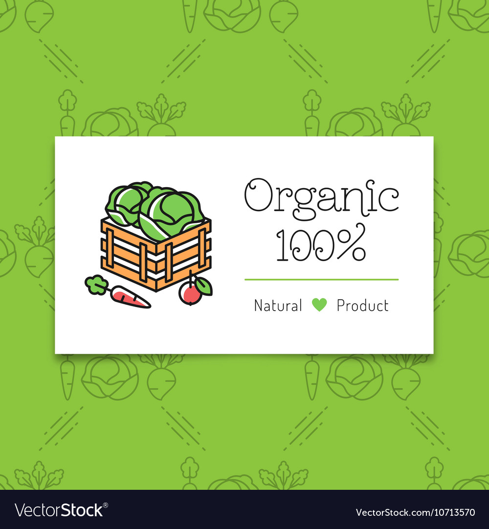 Organic food and farming logo concept line art vector image