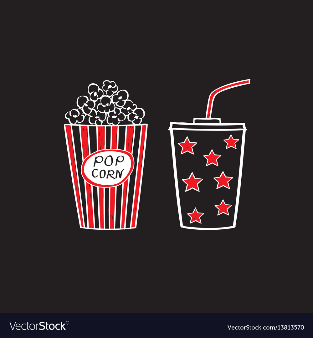 Popcorn and drink isolated
