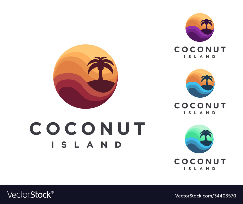 Set abstract travel logo with coconut tree