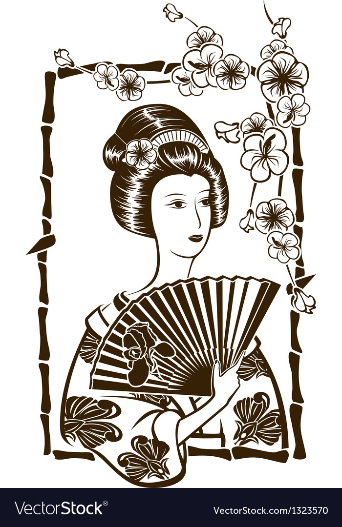 Traditional Japanese Geisha with fan stencil