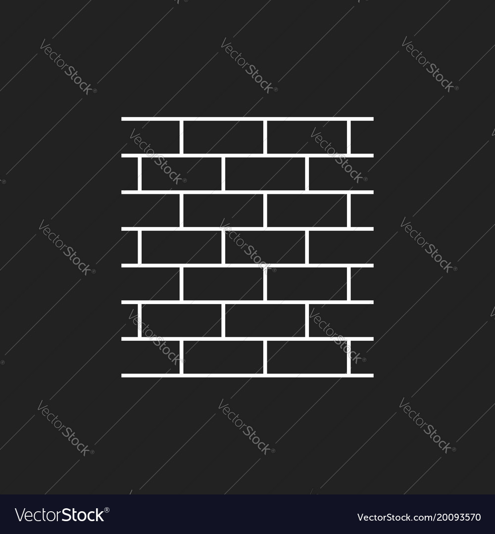 Wall brick icon in flat style isolated on black