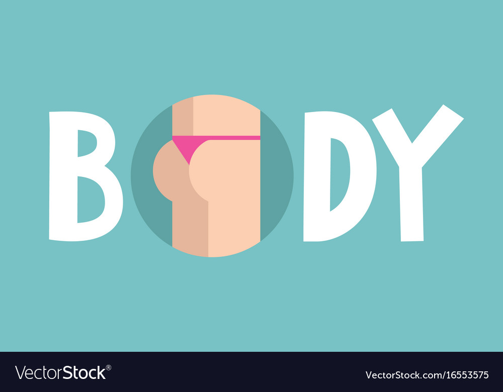 Body conceptual sign funny buttocks in pink