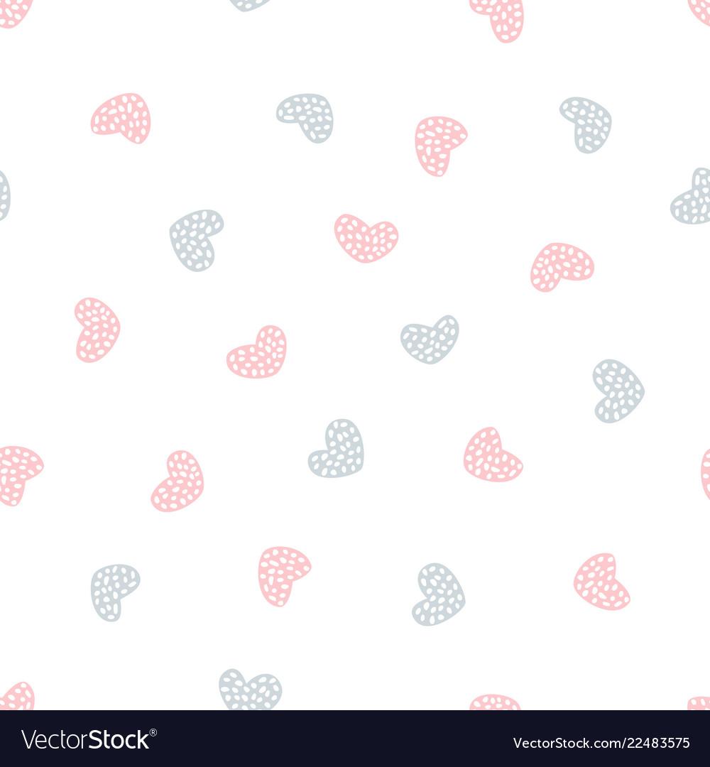 Childish seamless pattern with hearts