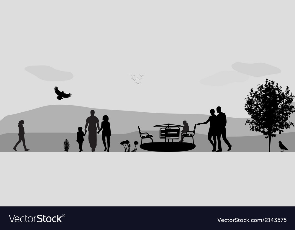 Children Ride on a Swing in the Park vector image
