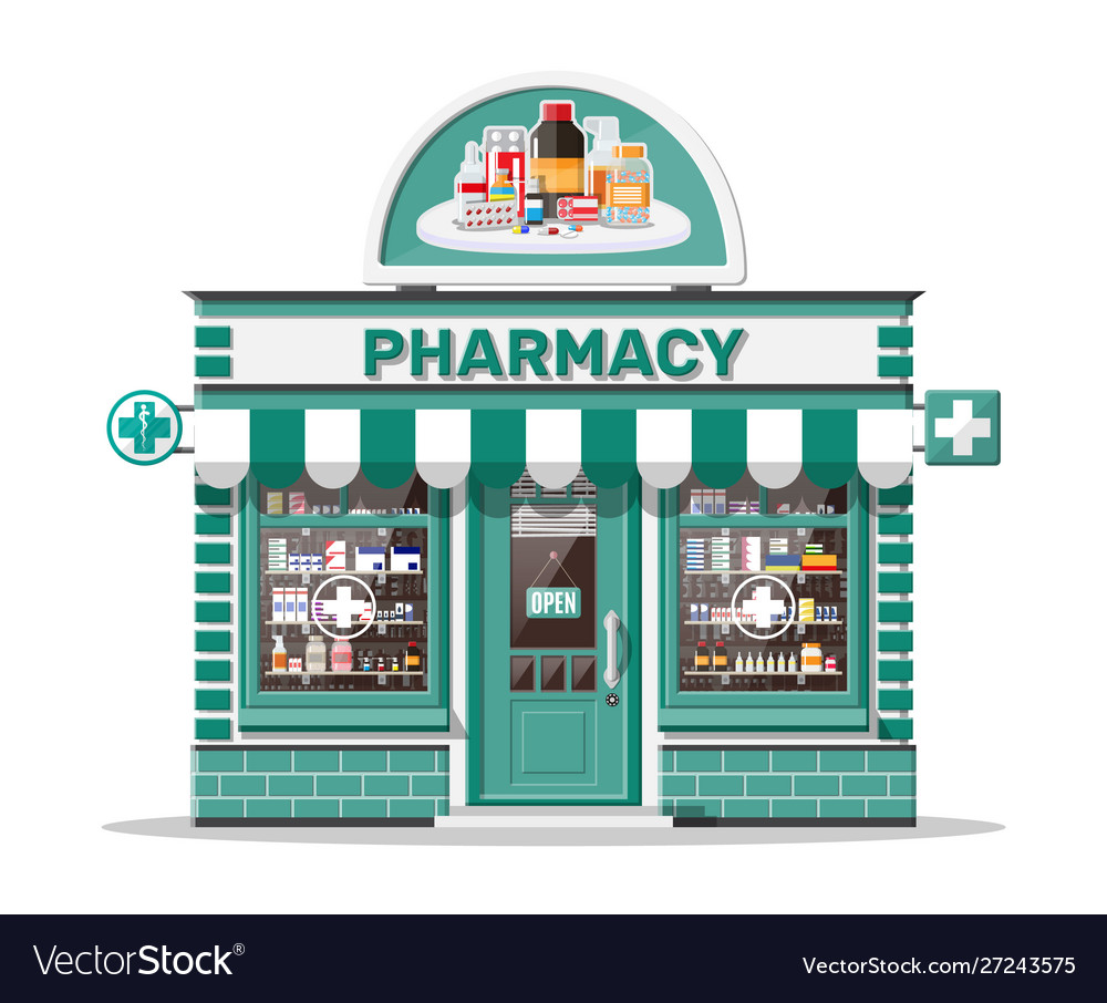 Facade pharmacy or drugstore with signboard