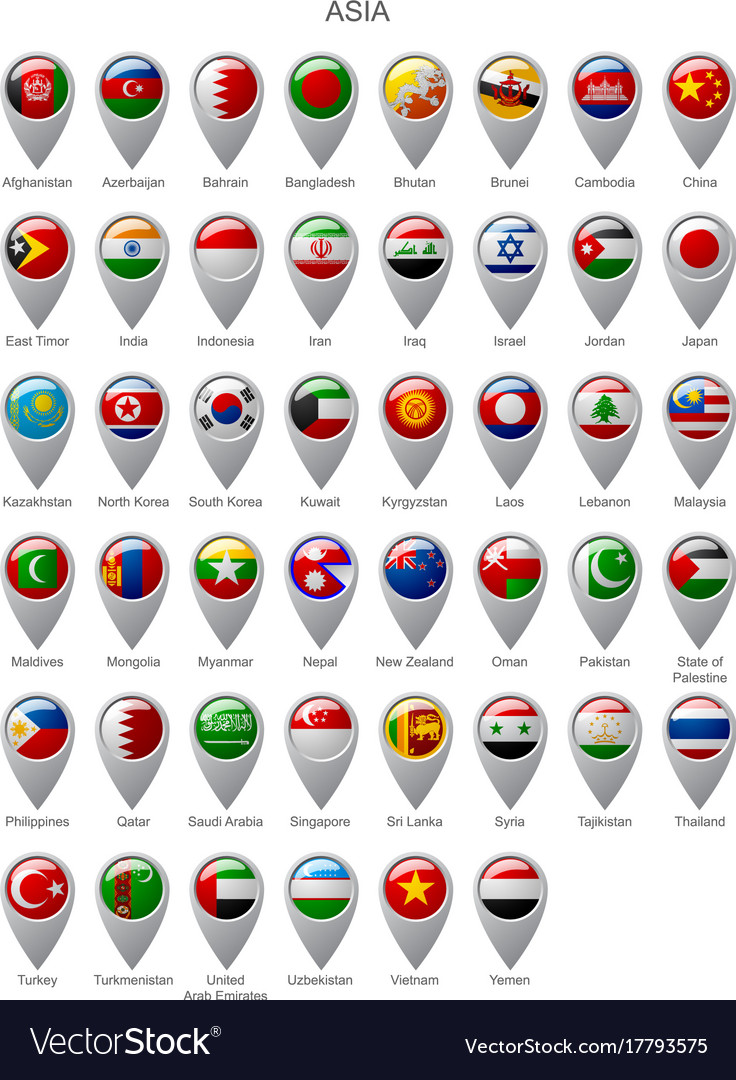 Map marker set with flags of asia vector image