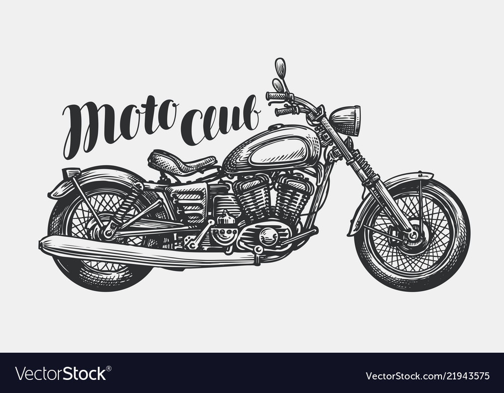 c4557e4e Motorcycle sketch hand-drawn vintage motorbike Vector Image