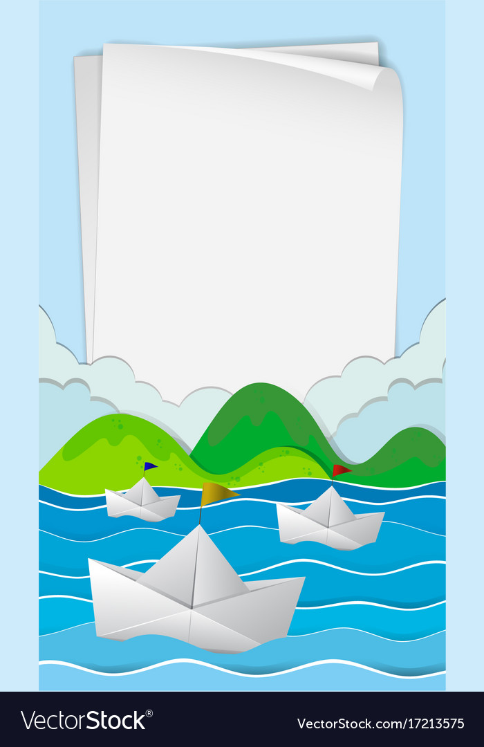 Paper Template With Boats At Sea Vector Image