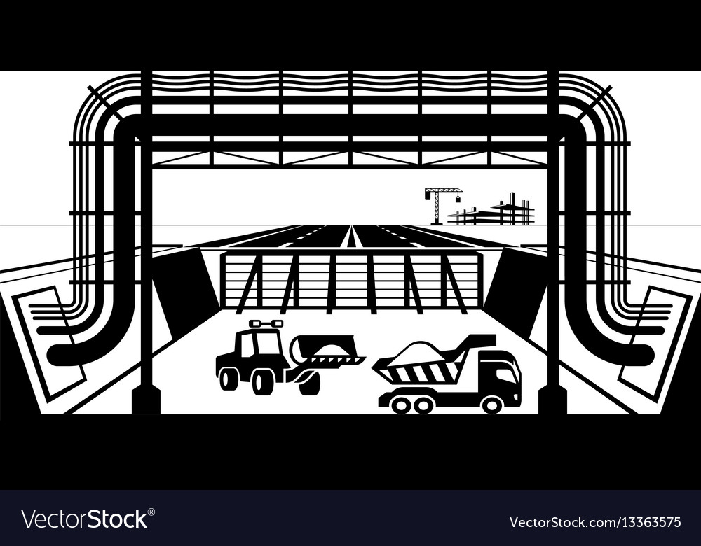 Relocating pipelines and cables in construction vector image